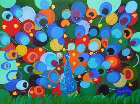The Jubilant peacock, 48 x 36 in, $3,700